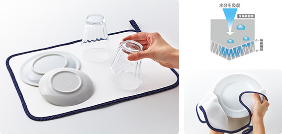 食器拭きにもなる水切りマット|日本製マイクロファイバークロスなら ...